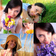 Young woman, summer collage — Stock Photo