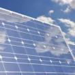 Solar panel cloud reflection - Stock Photo