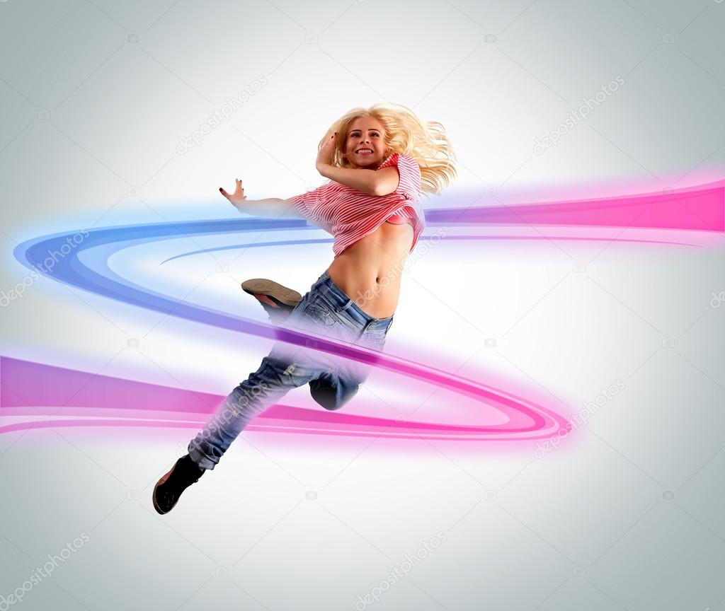 Young woman dancing. Colorful swoosh  Stock Photo #19374747
