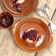 Panna cotta with berry sauce — Stock Photo