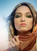 Woman wearing glamorous make up — Stock Photo