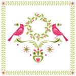 Christmas Card - Birds with Christmas Wreath - for invitation — Stock Vector