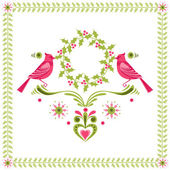 Christmas Card - Birds with Christmas Wreath - for invitation — 图库矢量图片