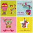 Set of Birthday Greeting Cards for Kids - in vector — Stock Vector #12461503
