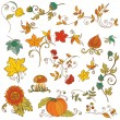 Vector set of decorative Autumn branches, leaves - for scrapbook — Stock Vector