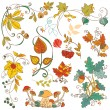 Vector set of decorative Autumn branches, leaves - for scrapbook - Stock Vector