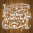 Merry Christmas Greeting Card - paper cut style - in vector — Stok Vektör #12624916
