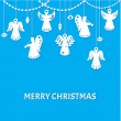 Merry Christmas Greeting Card - Angels - paper cut style — Cтоковый вектор