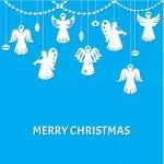 veselé vánoční pozdrav card - andělé - papír řez styl — Stock vektor