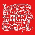 veselé vánoční pozdrav card - papír řez styl - ve vektoru — Stock vektor