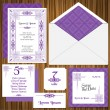 Wedding Invitation Card Set -Classic Style Invitation - in vector — Stock Vector