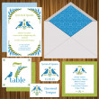Vector de stock : Wedding Invitation Card Set -Vintage Birds- invitation - vector