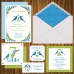 婚礼邀请卡设置-复古鸟-邀请-矢量 — 图库矢量图片