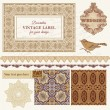 Vintage Wedding Scrapbook Set- Persian Tiles and Birds in vector — Stock Vector