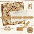 Vintage Wedding Scrapbook Set- Persian Tiles and Birds in vector — Stockvectorbeeld