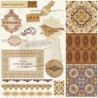Stock Vector: Vintage Wedding Scrapbook Set- Persian Tiles and Birds in vector