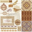 Vintage Wedding Scrapbook Set- Persian Tiles and Birds in vector - Stock Vector