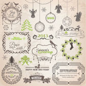 Vector Set: Christmas Calligraphic Design Elements and Page Deco — Vector de stock