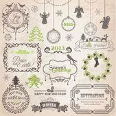 Vektor-set: kalligrafische design-weihnachts-elemente und seite deco — Stockvektor