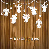 Merry Christmas Greeting Card - Angels - paper cut style — Stock Vector