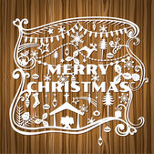 Merry Christmas Greeting Card - paper cut style - in vector — Stock Vector