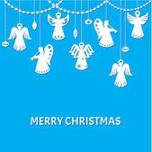 Frohe scherenschnitt weihnachten grußkarte - angels - stil — Stockvektor