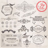 Vector Set: Christmas Calligraphic Design Elements and Page Deco — Wektor stockowy