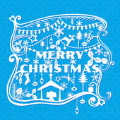 Merry Christmas Greeting Card - paper cut style - in vector — Stockvector