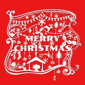 快乐圣诞贺卡-剪纸风格-向量中 — 图库矢量图片