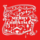 Merry Christmas Greeting Card - paper cut style - in vector — Vector de stock
