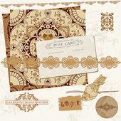 Vintage Wedding Scrapbook Set- Persian Tiles and Birds in vector — Stock Vector