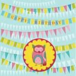carte de joyeux anniversaire avec un hibou mignon - vecteur — Vecteur