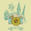 Lovely Card - Vintage Camera with Europe Architecture- in vector — Stock Vector