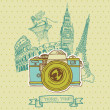 Lovely Card - Vintage Camera with Europe Architecture- in vector - Imagens vectoriais em stock