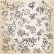 Beautiful floral elements - hand drawn retro flowers - in vector — Vettoriali Stock