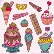 Set of Cakes, Sweets and Desserts - hand drawn in vector — Stock Vector #12720609