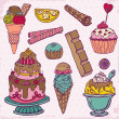 Set of Cakes, Sweets and Desserts - hand drawn in vector — Stock Vector