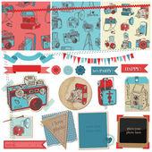 ретро рождественская открытка - приглашение, поздравление в векторе — Vettoriale Stock