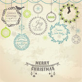 Cartão de natal vintage - para projeto e scrapbook - vetor — Vetorial Stock