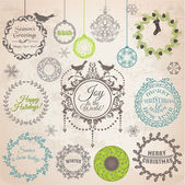 Vector Set: Christmas Calligraphic Design Elements and Page Deco — ストックベクタ