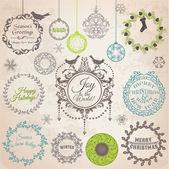 Vector set: kerstmis kalligrafische design elementen en pagina-deco — Stockvector