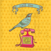 Scrapbook Design Elements - Vintage Telephone with a Bird — Stok Vektör