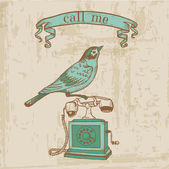 Scrapbook Design Elements - Vintage Telephone with a Bird — Stock Vector