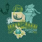 剪贴簿设计元素-威尼斯复古卡与邮票 — 图库矢量图片
