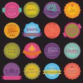Coleção de rótulos coloridos qualidade e garantia de prémio — Vetorial Stock