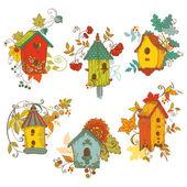 Dekoracyjne gałęzie jesień z birdhouses - notatnik i d — Wektor stockowy
