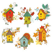 Decorative Autumn branches with Birdhouses - for scrapbook and d — Stock Vector