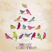 复古圣诞贺卡-圣诞树上的鸟儿-的邀请, — 图库矢量图片