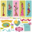 Scrapbook Design Elements - Vintage Child Set - in vector — Imagen vectorial