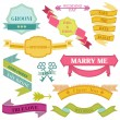 Wedding Vintage Frames, Ribbons and Design Elements - in vector — Stock Vector